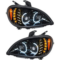 Freightliner Columbia Blackout Full LED Headlight With LED Light Bar Kit