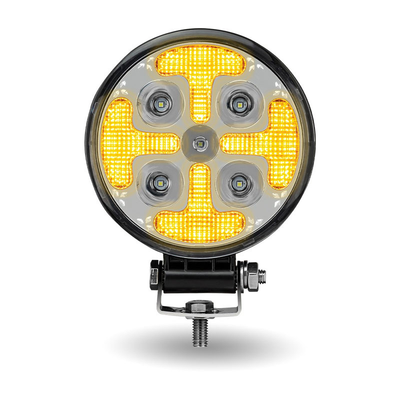 """4.5"""" Round Strobe Series With Amber LED Spot & Strobe Work Lamp With Amber LED's On"""