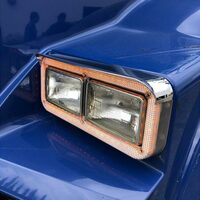 Rectangular Dual Headlight Sealed Transparent LED Bezel with Visor - Side View On