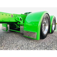 Lower Fender External Stainless Steel Molded Bracket - On Green Truck