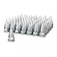 60 Pack Of Chrome 33mm Thread On Razor Nut Covers with Flange