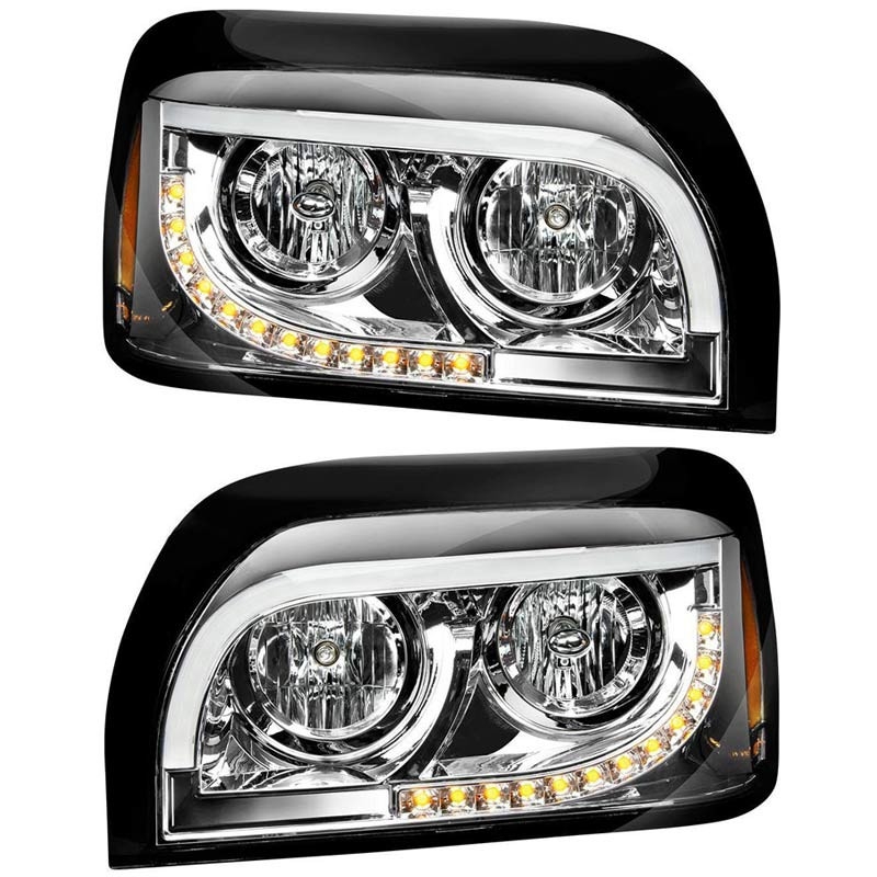 Freightliner Century Halogen Chrome Headlight With White LED DRL And Turn Signal - Complete Set