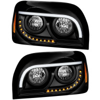 Freightliner Century Halogen Black Headlight Both Sides