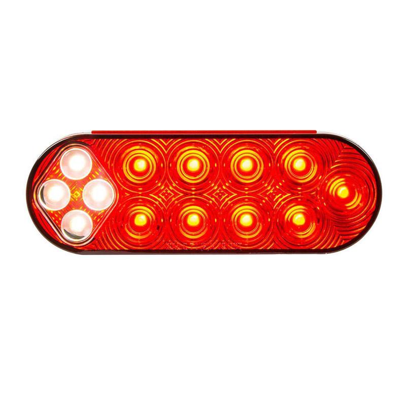 """6 1/2"""" Oval LED Fleet Series STT Backup Combo Light - LEDs On"""
