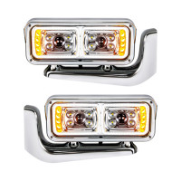 Peterbilt Chrome LED Projection Headlight With Mounting Arm