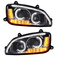 Kenworth T660 Chrome Full LED Headlights - Both Sides On
