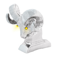 Chrome Ram's Head w/ LED Illuminated Eyes Hood Ornament