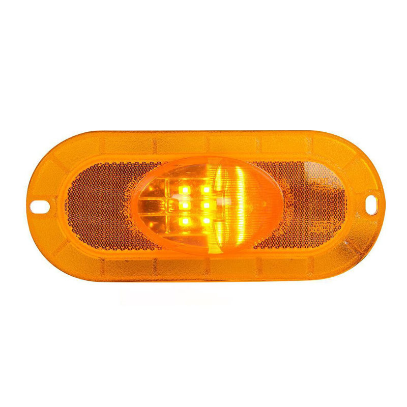 9 Amber LED Oval Flange Mount Marker & Turn Light LEDs On