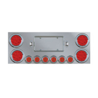 """Stainless Steel Rear Center Panel with 4 4"""" & 6 2"""" Red Lens LED Lights"""