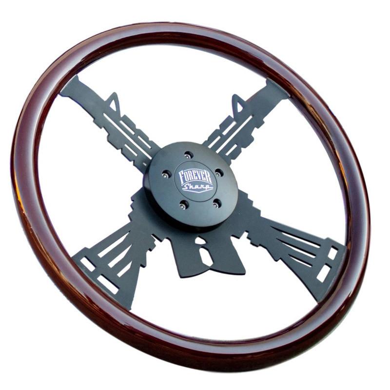 "18"" Black Carbine Steering Wheel By Forever Sharp"