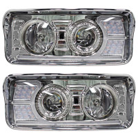 Freightliner Classic Chrome Projector Headlights With LED Amber Turn Signal & White Daylight Running Light- Complete Set
