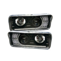 Freightliner Classic Blackout Projector Headlights With LED Amber Turn Signal & White Daylight Running Light- Complete Kit