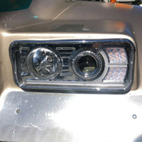 Kenworth T600 T800 W900 Chrome Projector Headlights With LED Amber Turn Signal & White Daylight Running Light