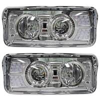 Kenworth T600 T800 W900 Chrome Projector Headlights With LED Amber Turn Signal & White Daylight Running Light- Complete Set