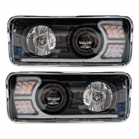 Kenworth T600 T800 W900 Blackout Projector Headlights With LED Amber Turn Signal & White Daylight Running Light- Complete Kit