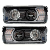 Kenworth T600 T800 W900 Blackout Projector Headlights With LED Amber Turn Signal & White Daylight Running Light (Complete Kit)