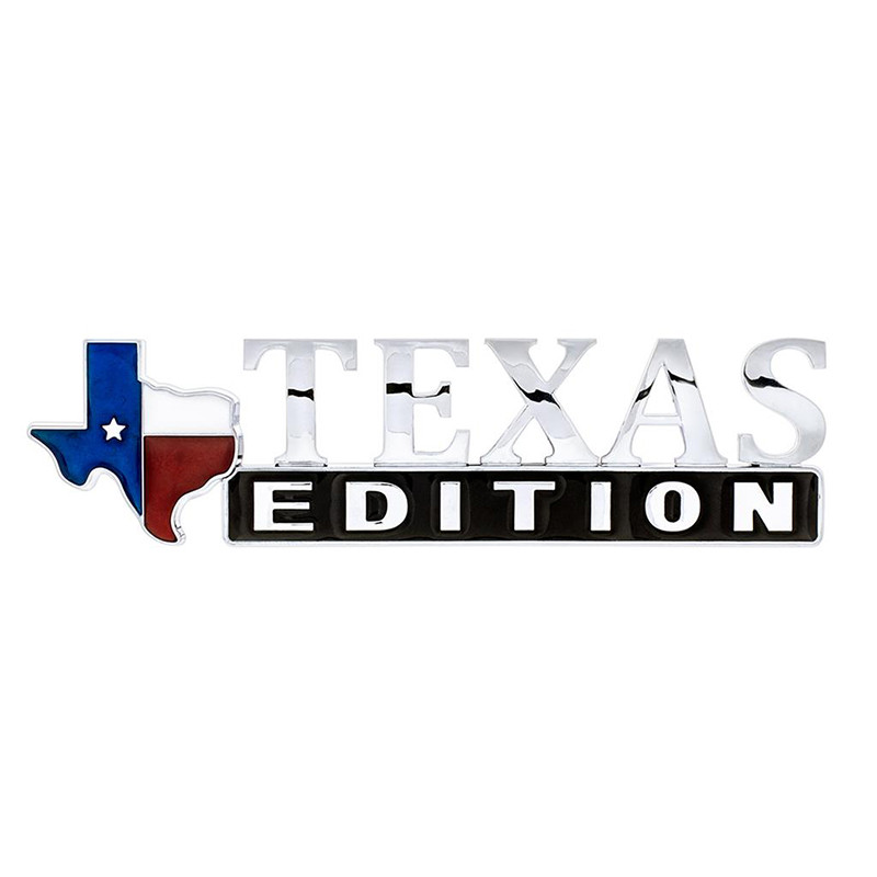 Chrome Plated Plastic Texas Edition Accent Emblem Normal Front View