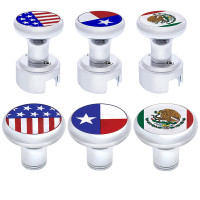 """Showcase Set Chrome Plated 1/2""""-13 Thread-On Flags Gearshift Knob - With Adapter - Without Adapter"""