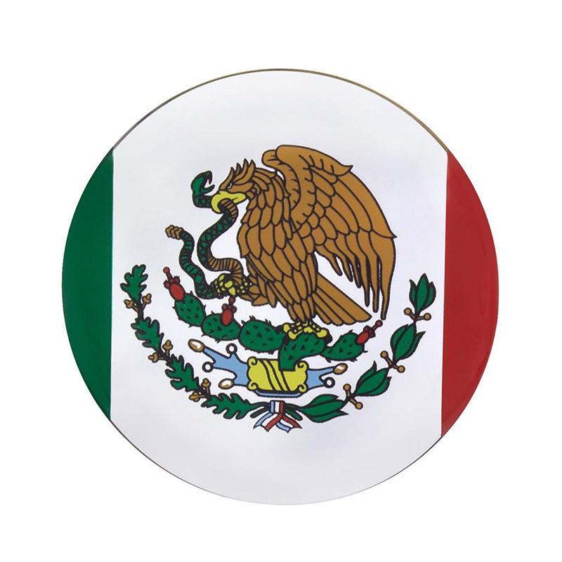 "1-3/4"" Round Glossy Mexico Flag Sticker"