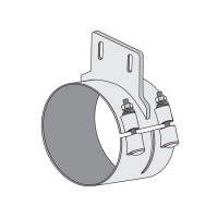 """Peterbilt 379 8"""" Wide Band Clamp With Straight Bracket By Dynaflex Chrome"""