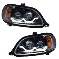 Freightliner M2 Blackout Projector Headlight Pair With Dual Function Sequential LED Light Bar
