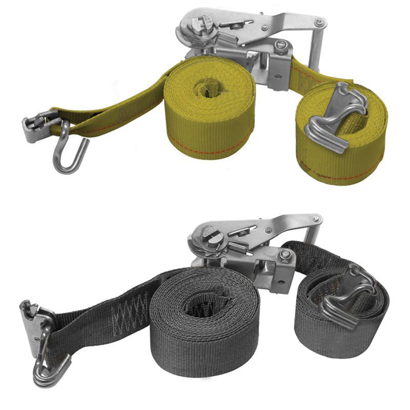 """2"""" E-Track Ratchet Tie Down Strap Assembly With Wire Hook"""