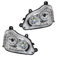 Kenworth T680 Chrome Headlight With Halo LED And Sequential Light Bar (Complete Set)