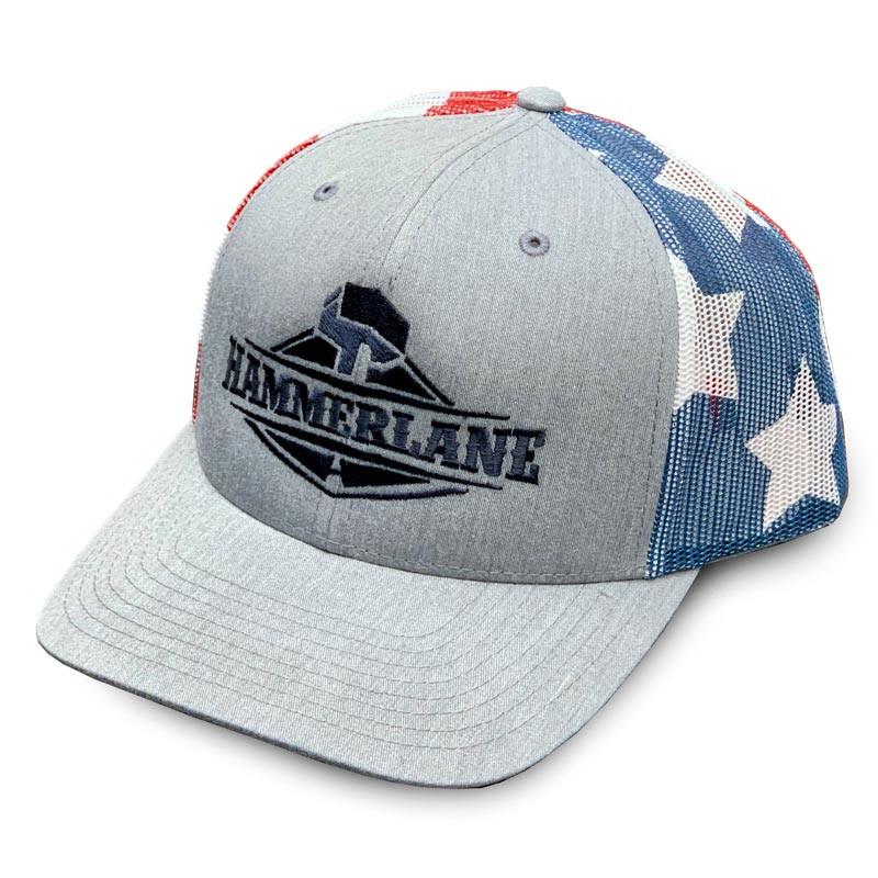 Snapback USA Flag Heather Grey Hammerlane Trucker Hat Angled View