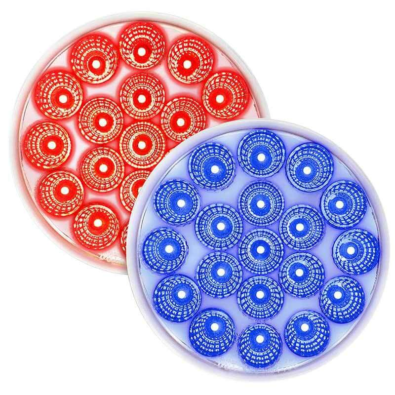 "4"" Round 19 LED Dual Color Red STT And Blue Marker Light - Default"
