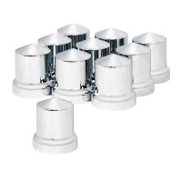 10 Pack of Chrome Plastic 33mm Push On Pointed Nut Covers