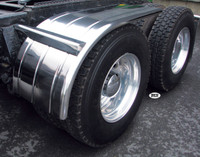 "60"" Stainless Steel Ribbed Half Fenders On Truck"