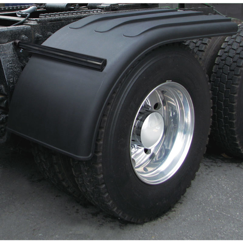 "Semi Truck 66"" Black Poly Half Fenders With Black Economy Mounting"