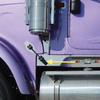 International 9900I Lower Hood Latch Trims Close Up
