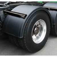 "Semi Truck Poly Fenders 76"" Black For Single Axle Dual Rear Wheels On Truck"