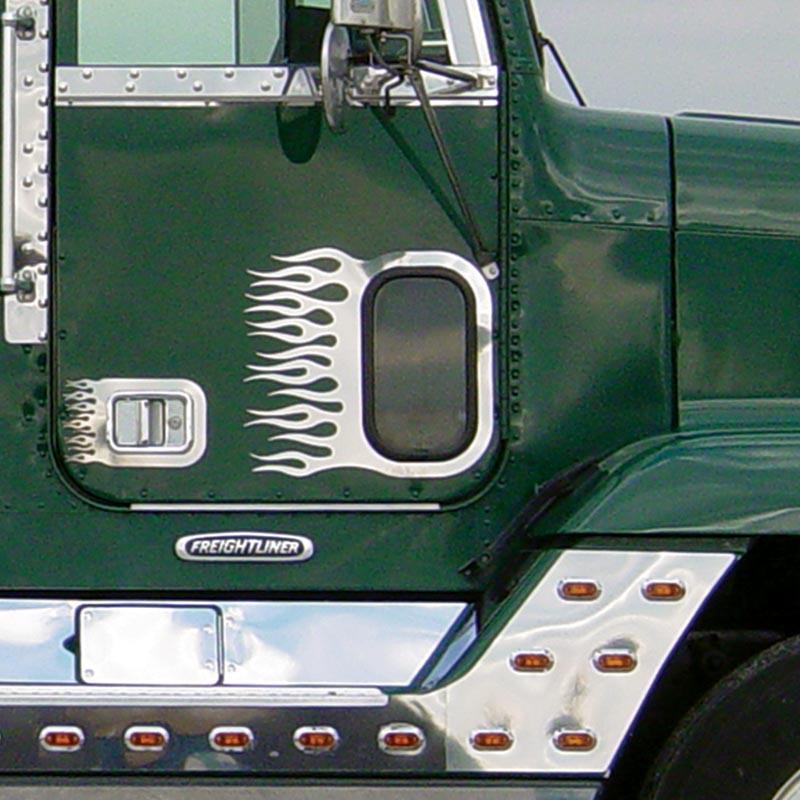 Freightliner Classic FLD View Window Trim W/Flames By Roadworks