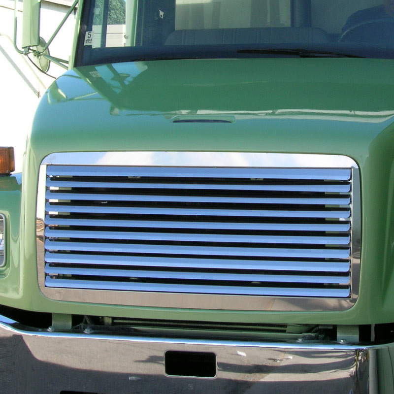 Freightliner FL 50 60 70 80 Stainless Steel Grill Insert On Green Truck