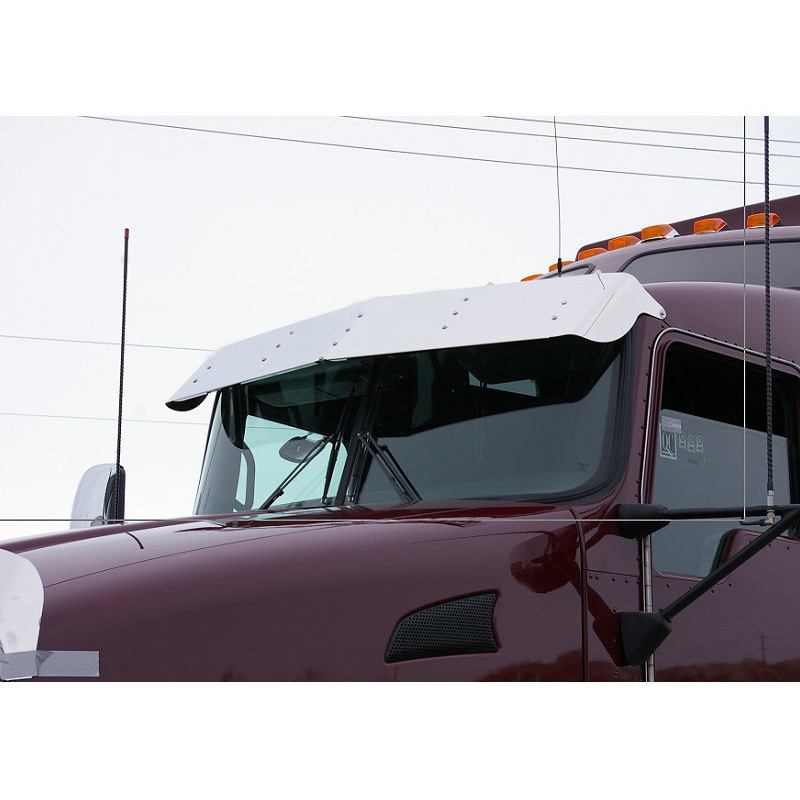 "12"" Kenworth T660 Drop Visor Stainless Steel On Truck"