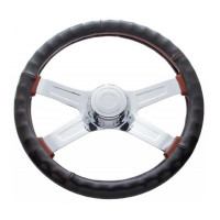 "Universal 18"" Dark Brown Leather Steering Wheel Cover"