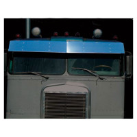 "Kenworth K100A 13"" Visor Stainless Steel Drop Style"