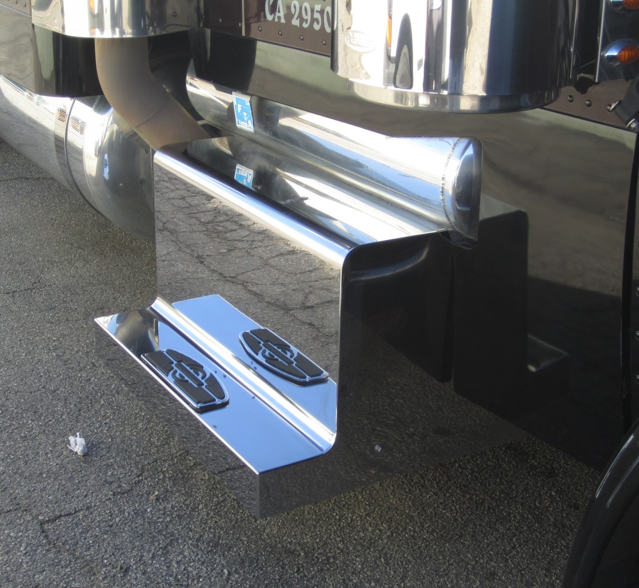 cost of trailer home with Peterbilt 389 4 Step Stainless Steel Monster Box Lid Cover on Airstream Basec  Trailer 2016 9 in addition 921 lc 1980 Construction machine Caterpillar digger likewise Pyro Mini Fireshooter likewise Shimano Orca Sinking Pencil Lures further Loading Dock Design.