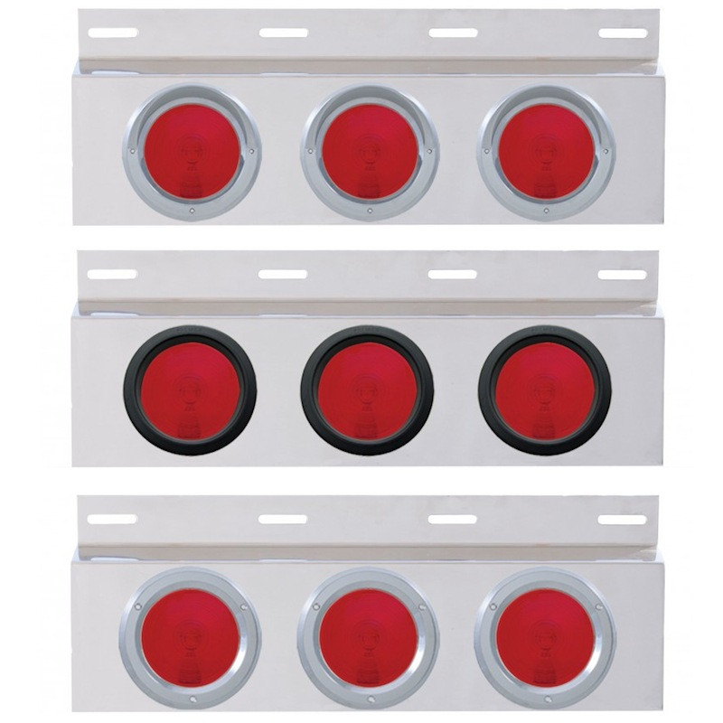 """Stainless Top Mud Flap Light Bracket With Three 4"""" Incandescent Lights"""