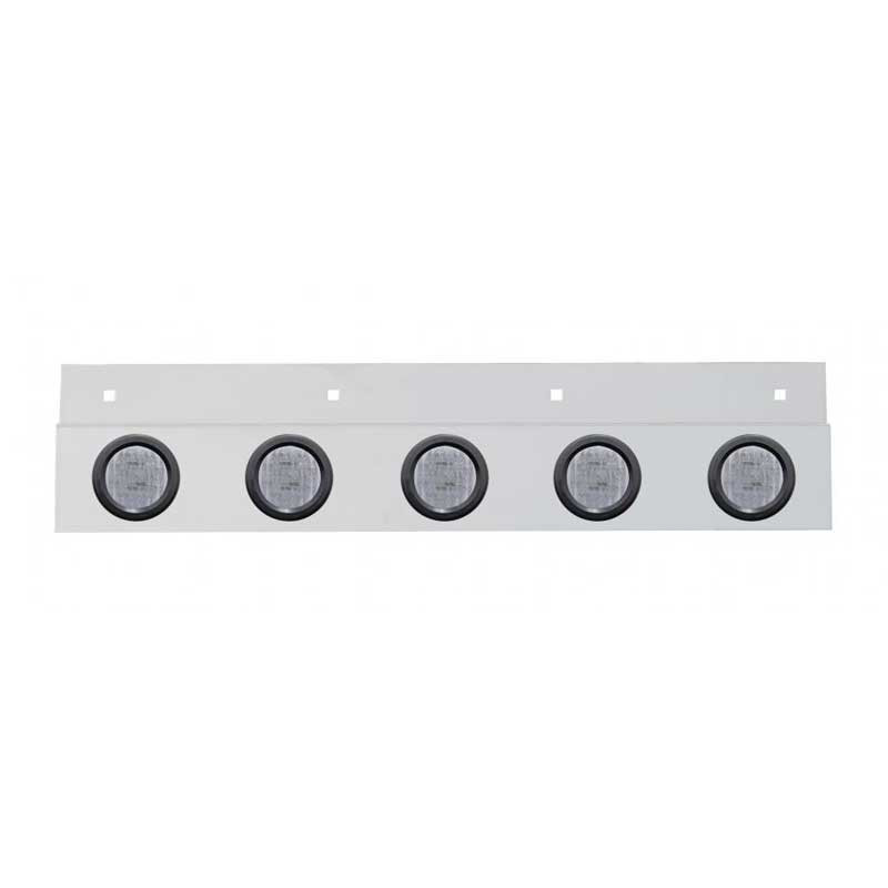Stainless Top Mud Flap Light Brackets With LED Lights Marker Light - Red LED / Clear Lens with Rubber Grommet