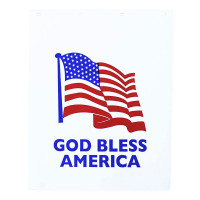 God Bless America With American Flag White Mud Flap