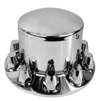 Chrome Rear Axle Wheel Cover With Removable Hubcap & Lug Nut Covers