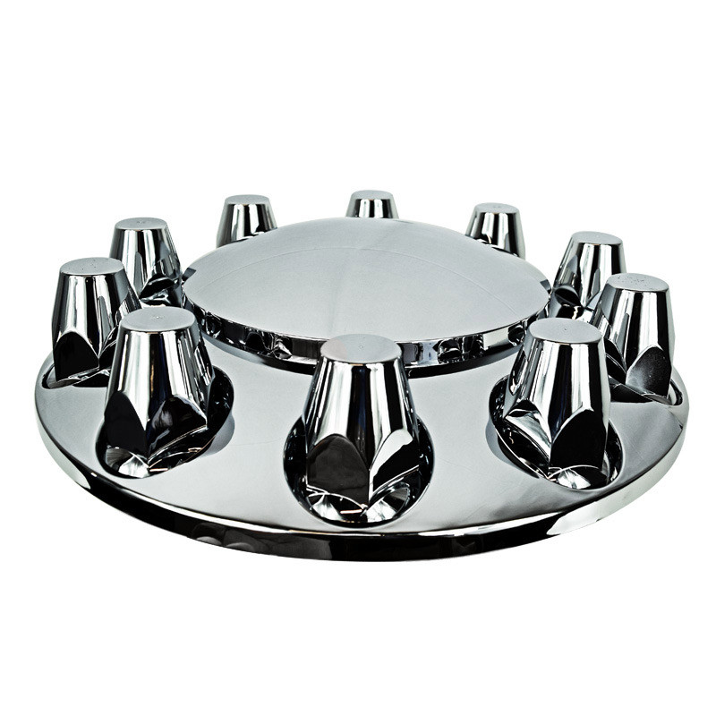Chrome Front Axle Wheel Cover With Removable Hubcap & Lug Nut Covers