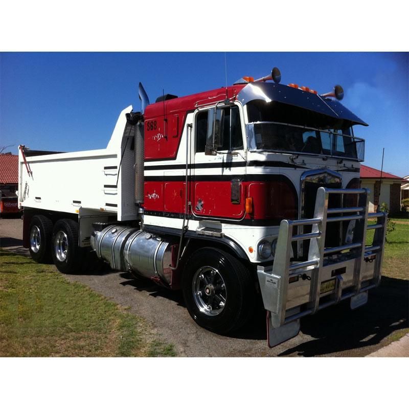 Kenworth K100 V Style Sun Visor Stainless Steel - Raney\'s Truck Parts