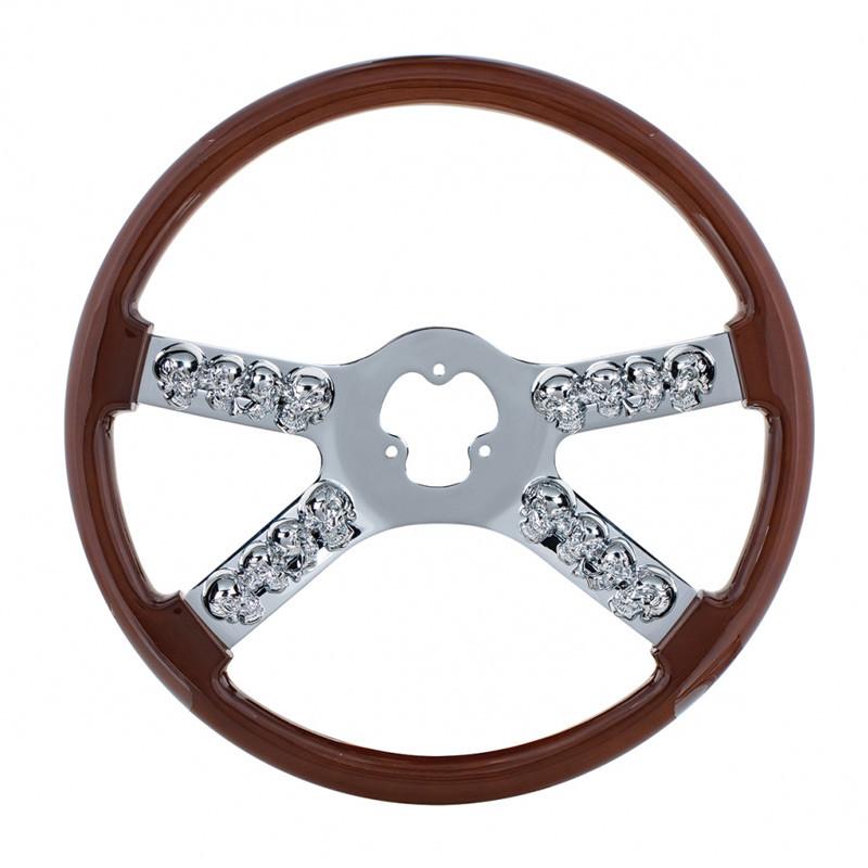 """18"""" Wood Chrome Skull Spoke Steering Wheel"""