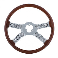 "18"" Wood Chrome Skull Spoke Steering Wheel"