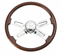 "Peterbilt Kenworth Steering Wheel Chrome Economy 18"" Four Spoke With Hub Included"