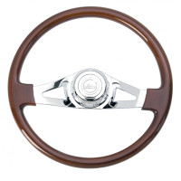 "Peterbilt Kenworth Steering Wheel Chrome 18"" Two Spoke With Hub Included"